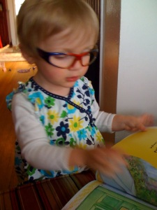 Reading is even better with practice glasses! Imagine how amazing it will be with REAL glasses and lenses! Thanks to the photographer: Cooper's mom. A lovely lady, dear friend, and playdate savior.